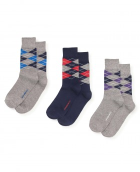 Navy Grey Multi Argyle 3 Pack Sock-MSO042GNV - Small Image 280x344px
