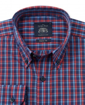NAVY RED BLUE CHECK CASUAL FIT SHIRT-1062NRB - Small Image 280x344px