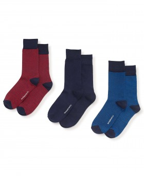 Navy Red Blue Stripe And Plain 3 Pack Sock-MSO044RNB - Small Image 280x344px