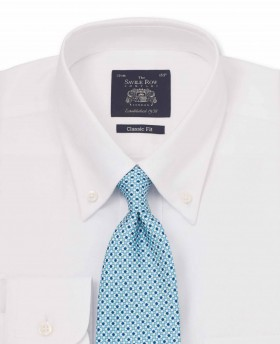 White Pinpoint Oxford Button Down Classic Fit Shirt-1029WHT - Small Image 280x344px
