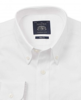 White Pinpoint Oxford Slim Fit Shirt - Single Cuff-1069WHT - Small Image 280x344px