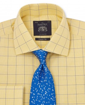 Yellow & Blue Prince Of Wales Classic Fit Shirt with Double Cuff-1043YEN - Small Image 280x344px