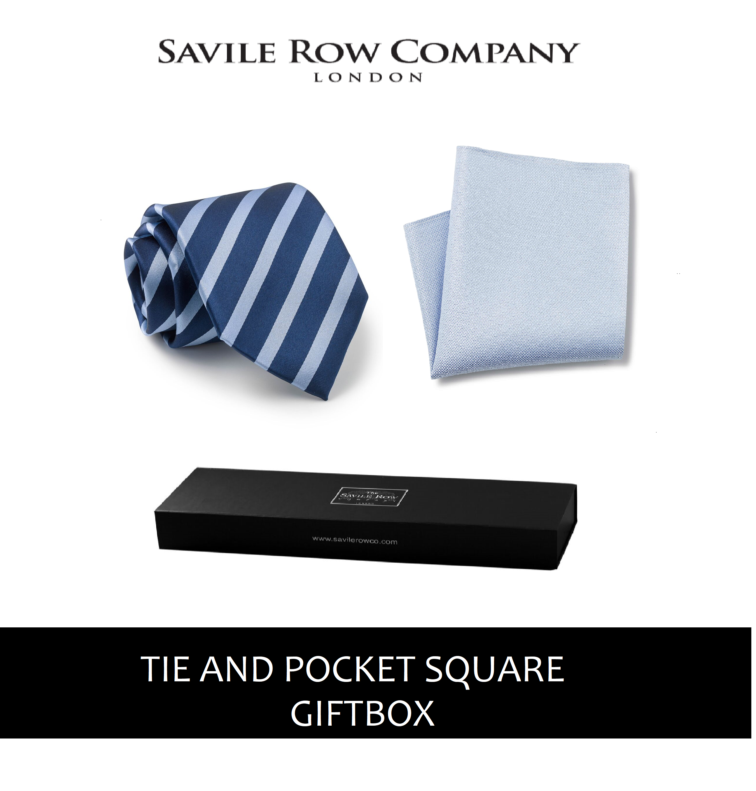 Navy Royal Blue Regimental Stripe Silk Tie and Pocket Square Gift Box-NAVY-ROYAL-GIFTBOX