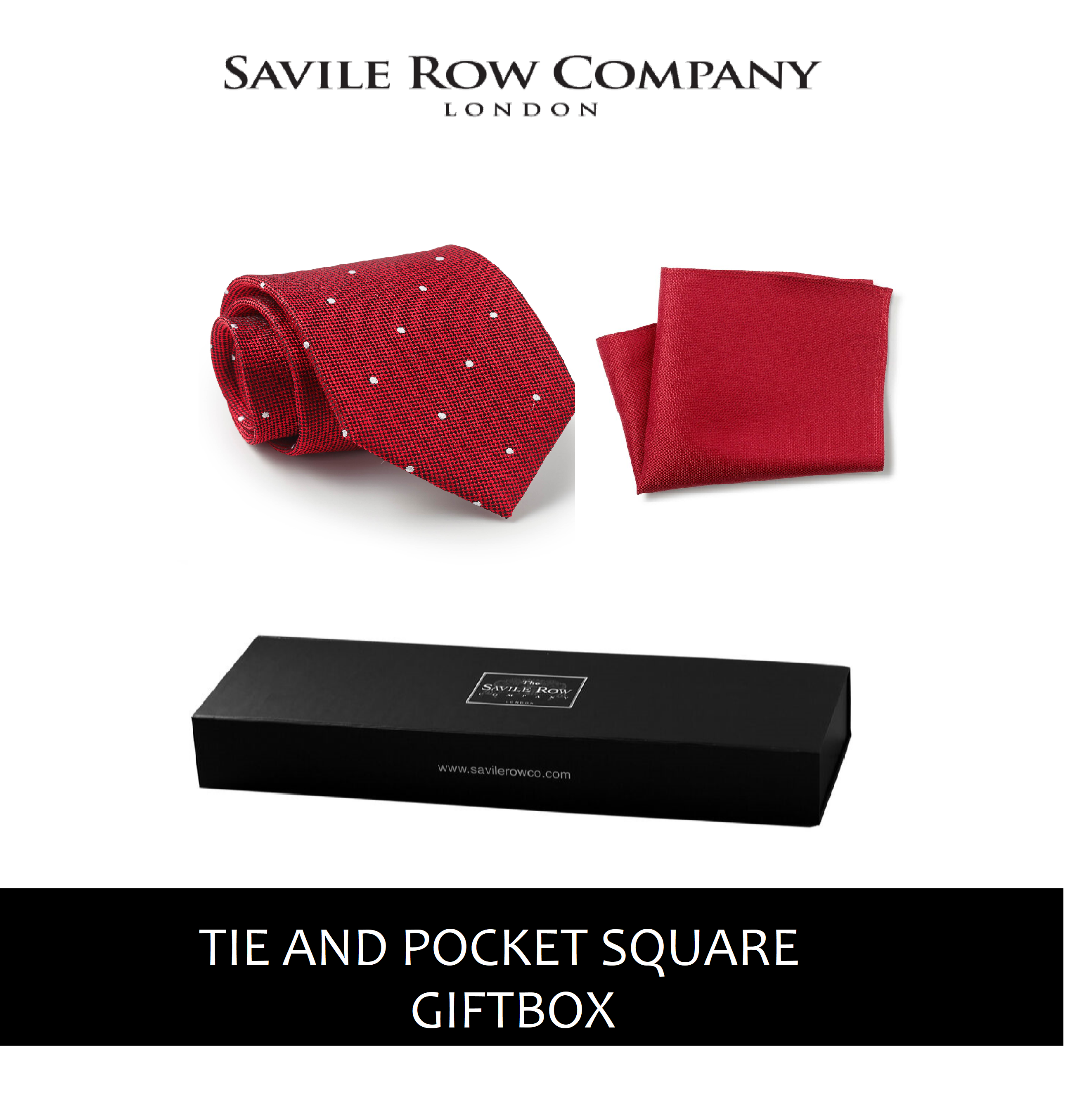 Red Textured Spot Silk Tie & Pocket Square Gift Box-REDTIEGIFTBOX