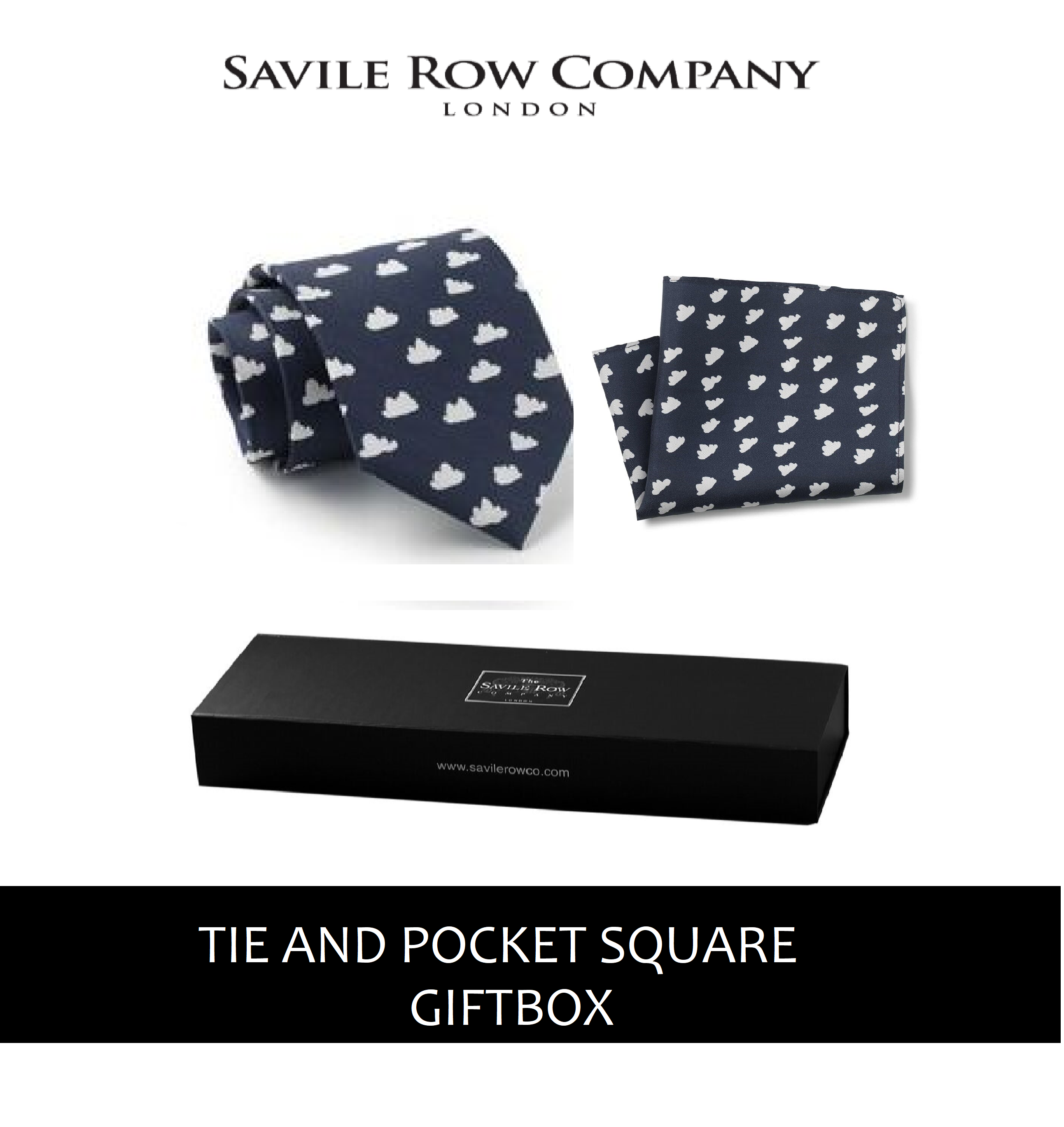 Navy White Cloud Print Silk Tie and Pocket Square Gift Box-BLUCLOUDGIFT