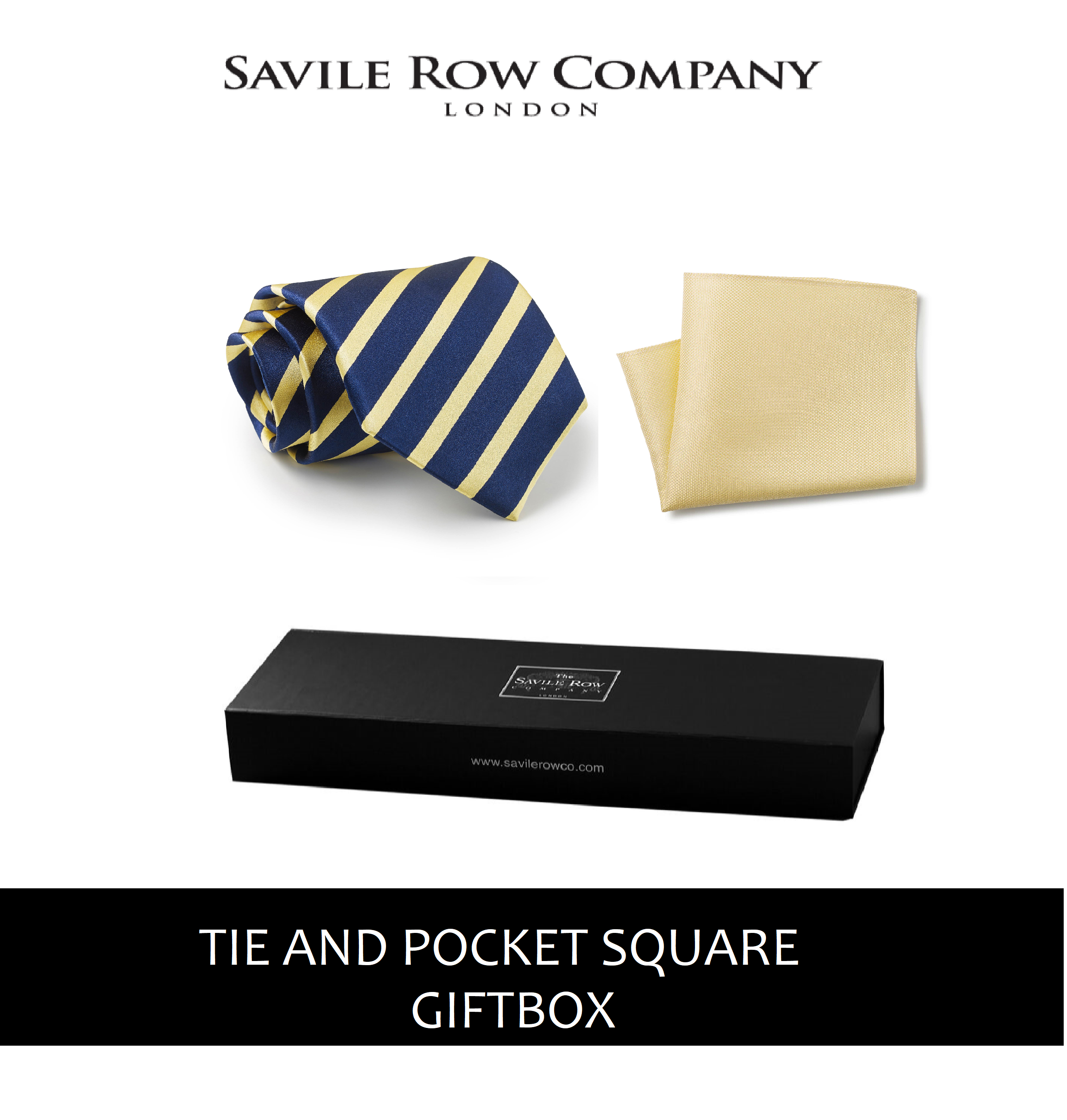 Navy Yellow Regimental Stripe Silk Tie and Pocket Square Gift Box-NAVYELGIFTBOX
