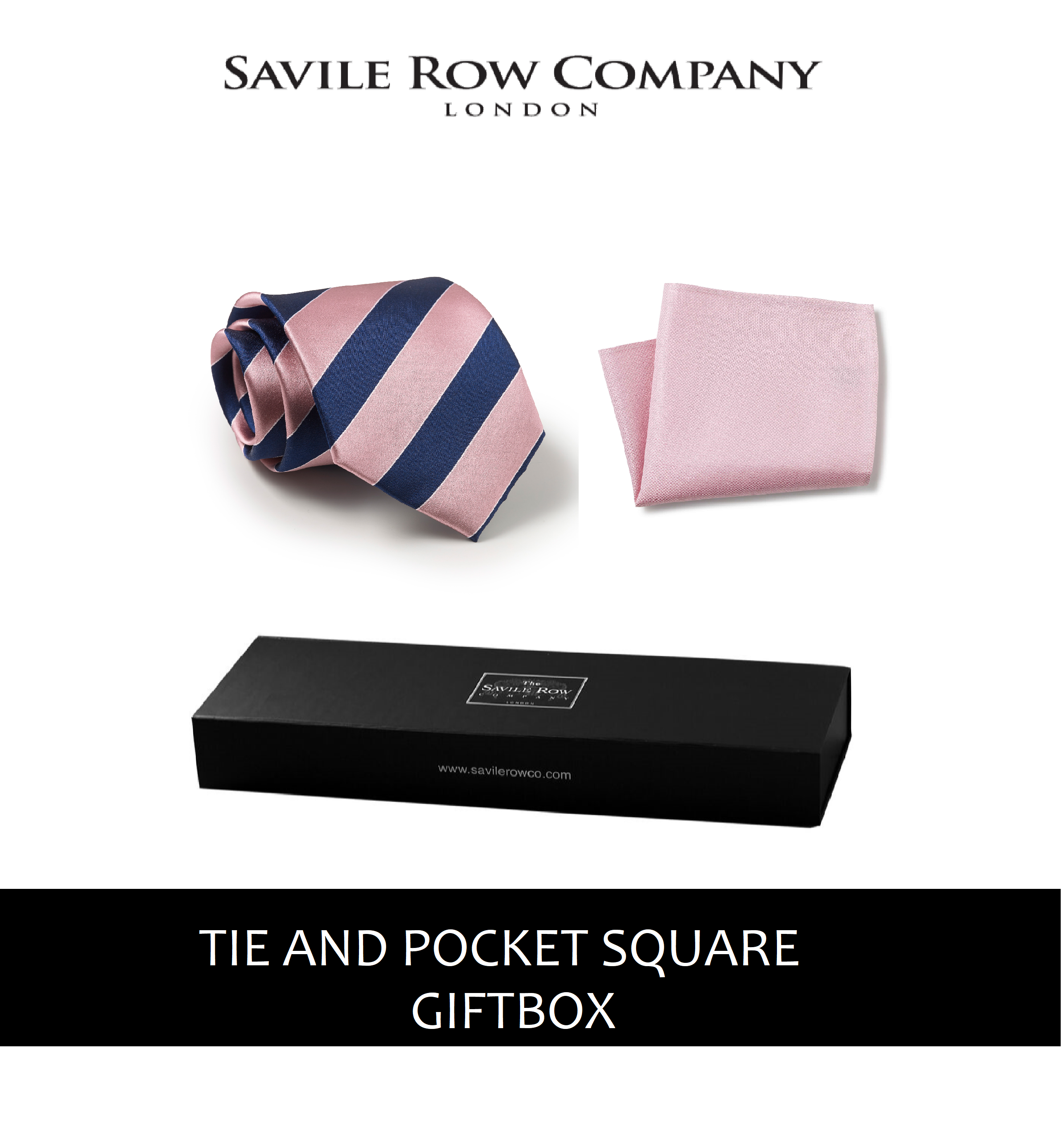 Pink Navy White Regimental Stripe Silk Tie and Pocket Square Gift Box-PNKNAVGIFTBX