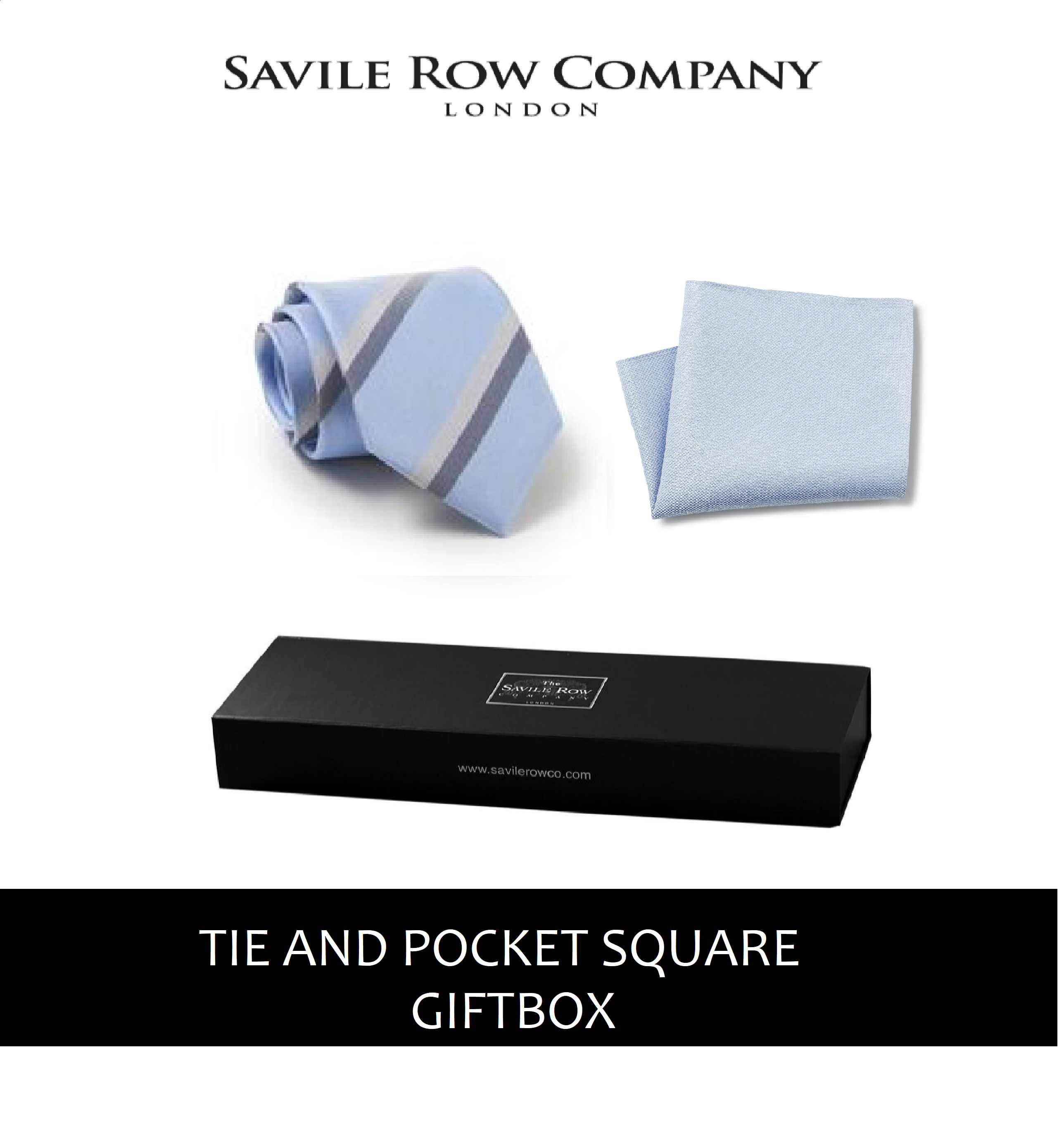 Light Blue Grey Navy Pinpoint Stripe Silk Tie and Pocket Square Gift Box-BLU-GRY-GIFTBOX