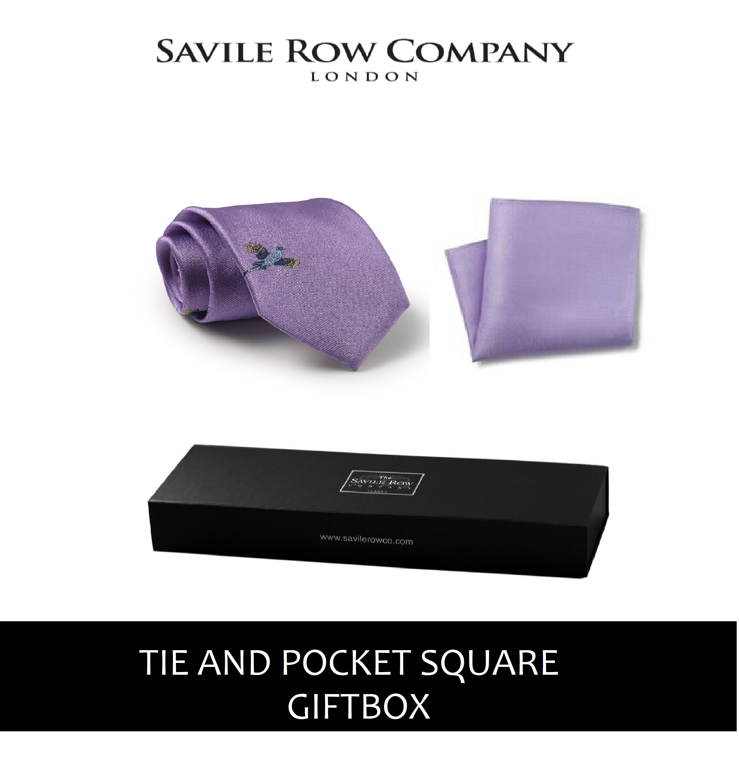 Lilac Flying Pheasant Silk Tie and Pocket Square Gift Box-LILAC-GIFTBOX