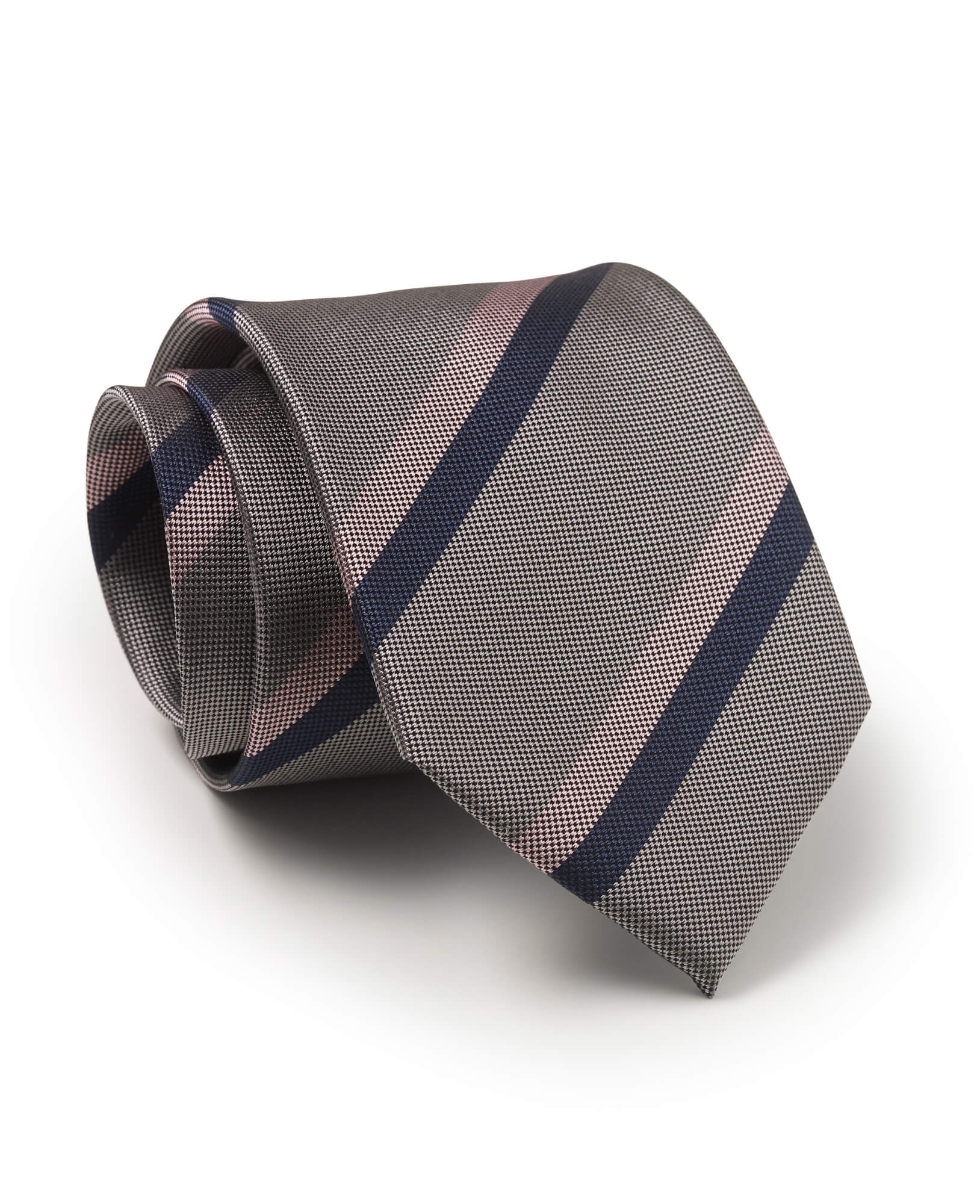 Grey Pink Navy Pinpoint Stripe Silk Tie