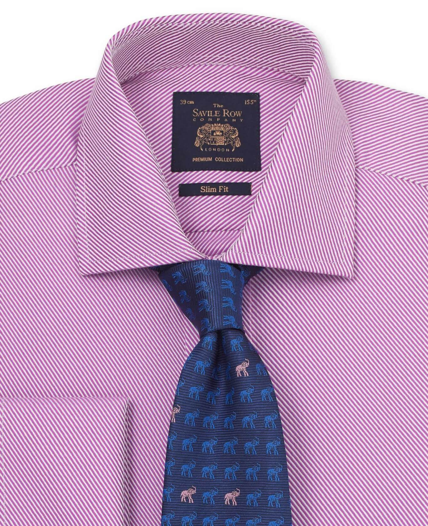 Lilac Bold Twill Slim Fit Shirt - Double Cuff-1047LIL