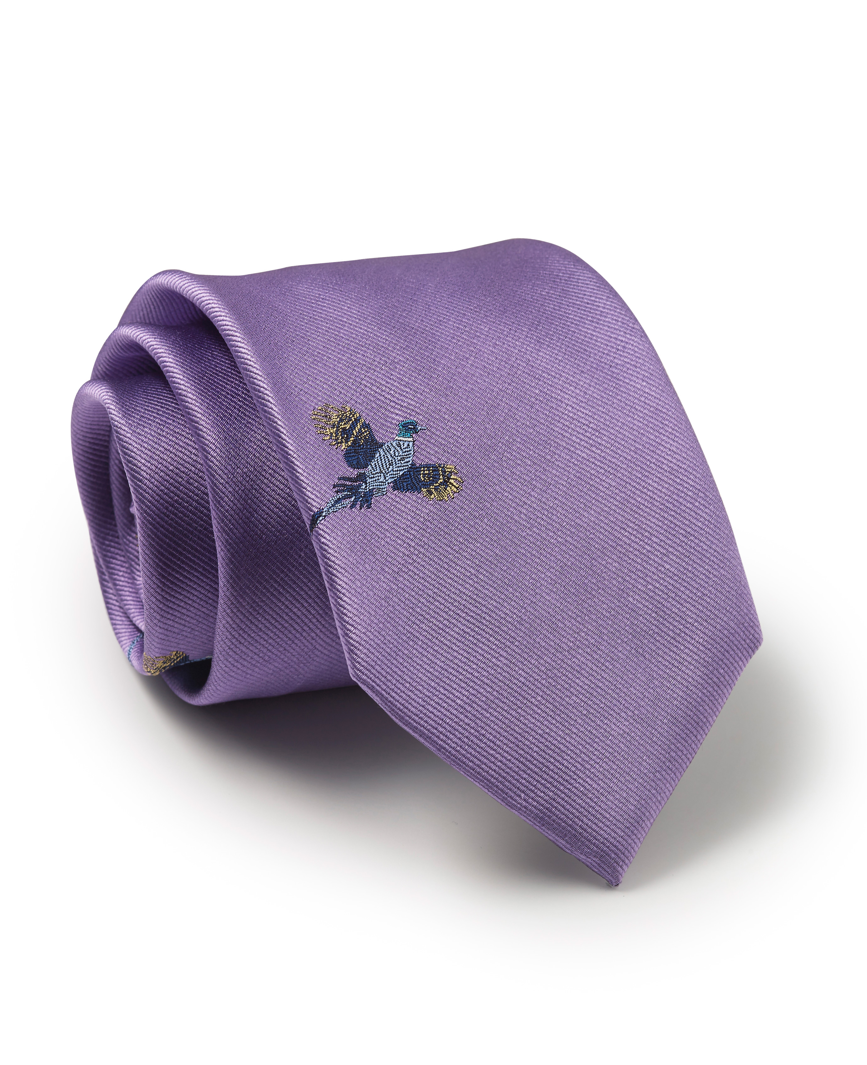 Lilac Flying Pheasant Silk Tie