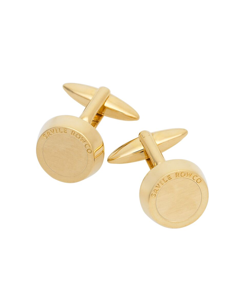 CHUNKY GOLD EFFECT CUFFLINKS-MCL939GLD