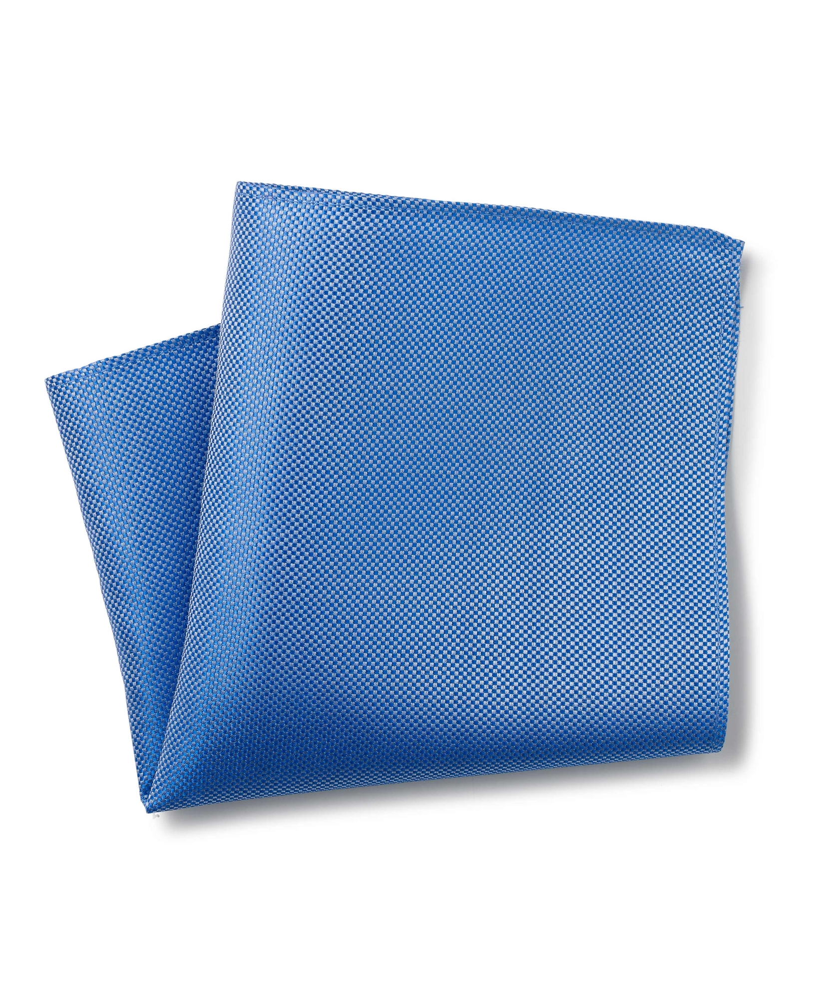 MID BLUE BIRDSEYE TEXTURED SILK POCKET SQUARE-MHK224BLU000