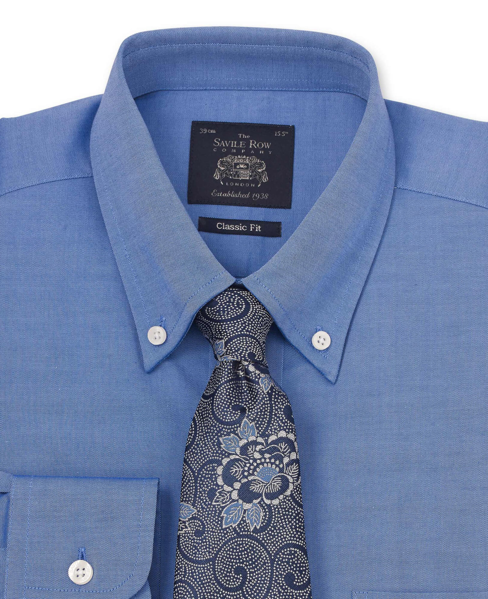 Mid Blue Pinpoint Oxford Button Down Classic Fit Shirt-1029MBL