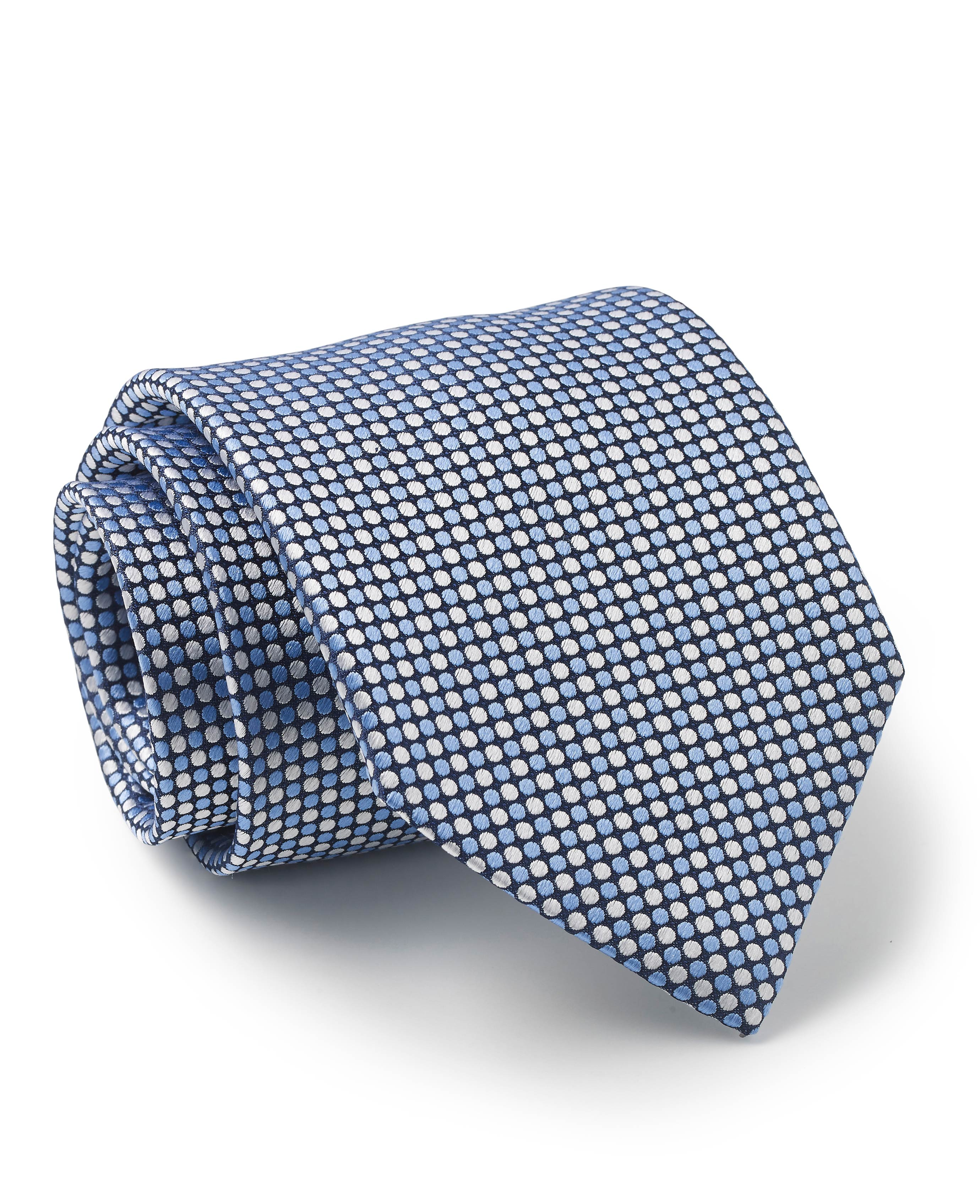 Blue Navy White Multi Spot Silk Tie