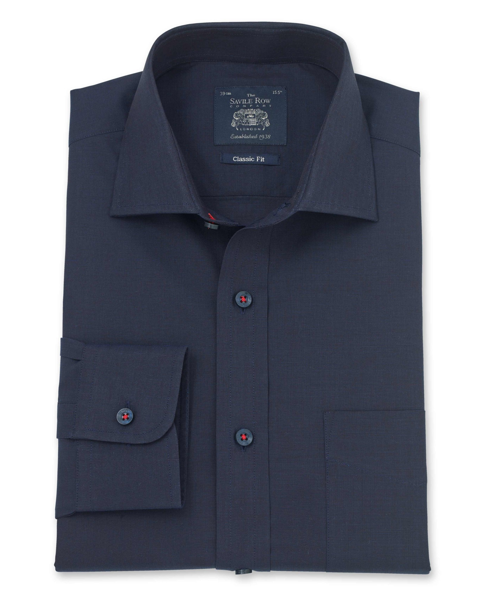 Navy end on end classic fit shirt single cuff the for Single cuff dress shirt