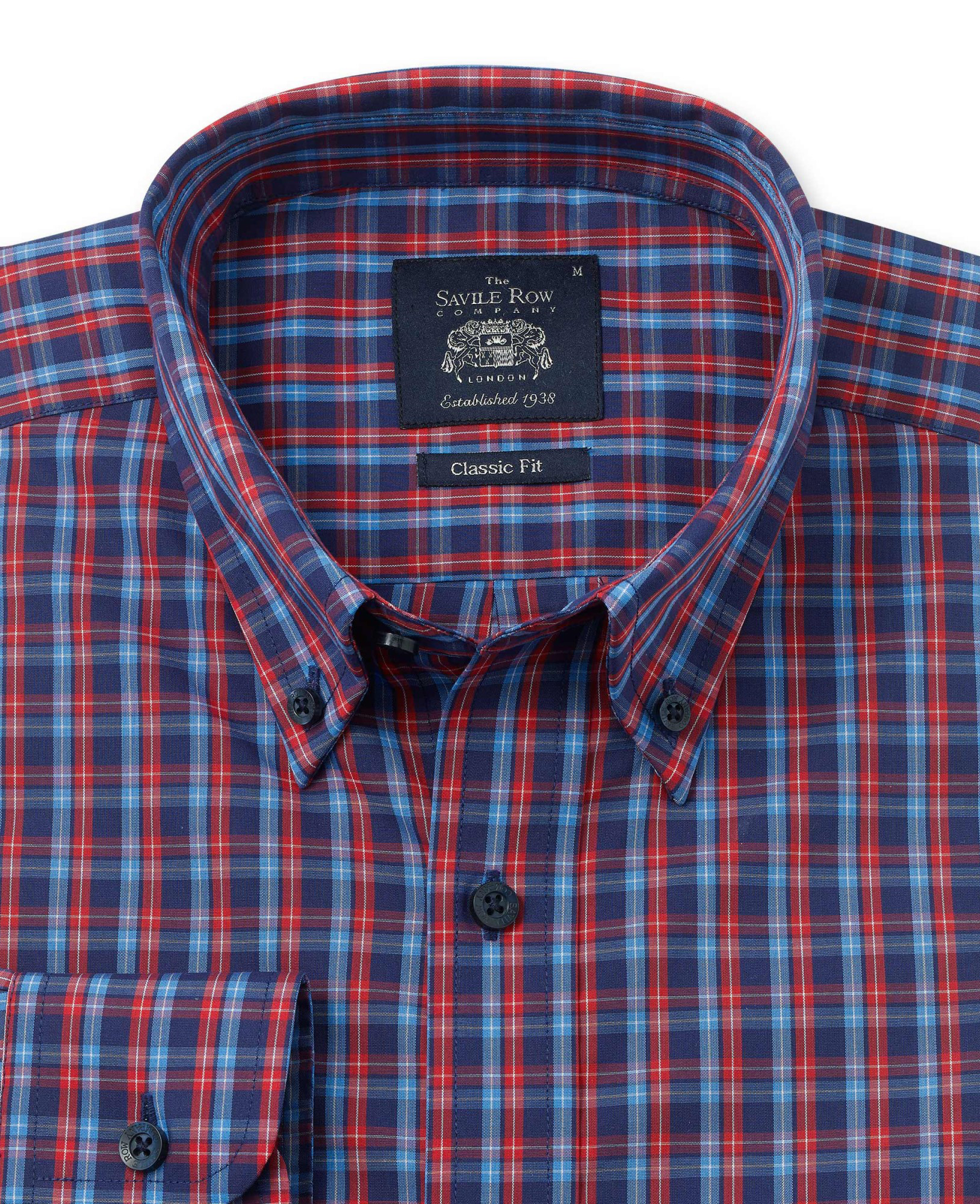 NAVY RED BLUE CHECK CASUAL FIT SHIRT-1062NRB