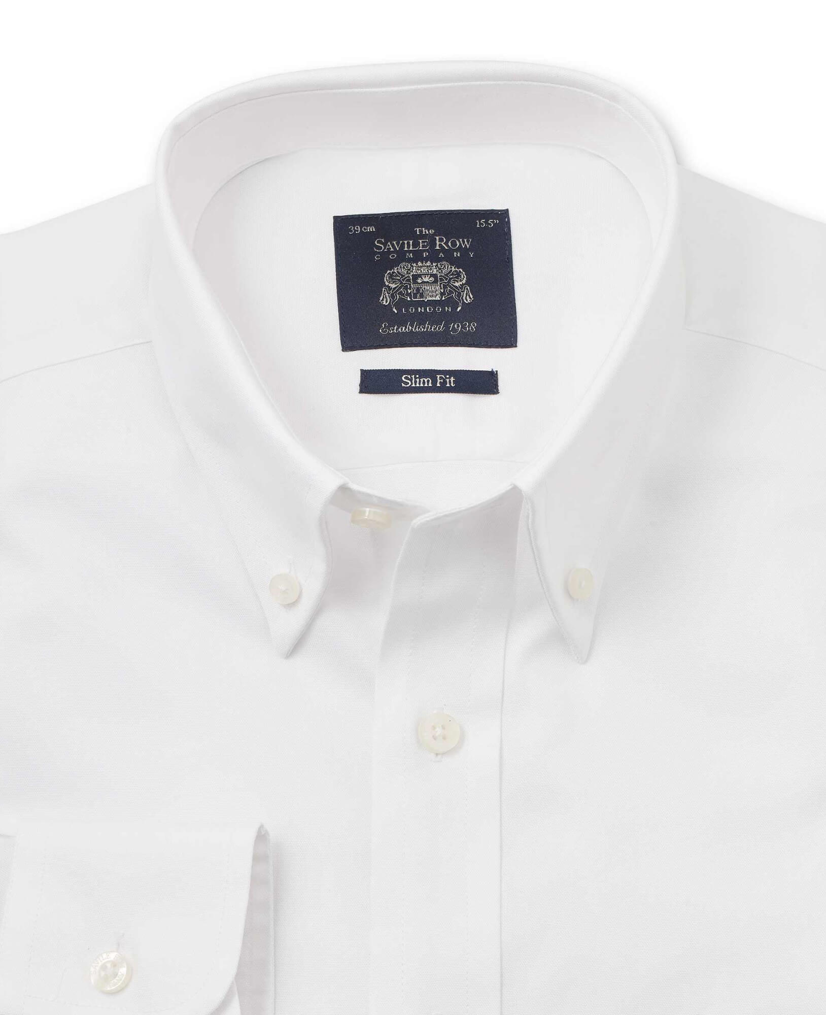 White Pinpoint Oxford Slim Fit Shirt - Single Cuff-1069WHT