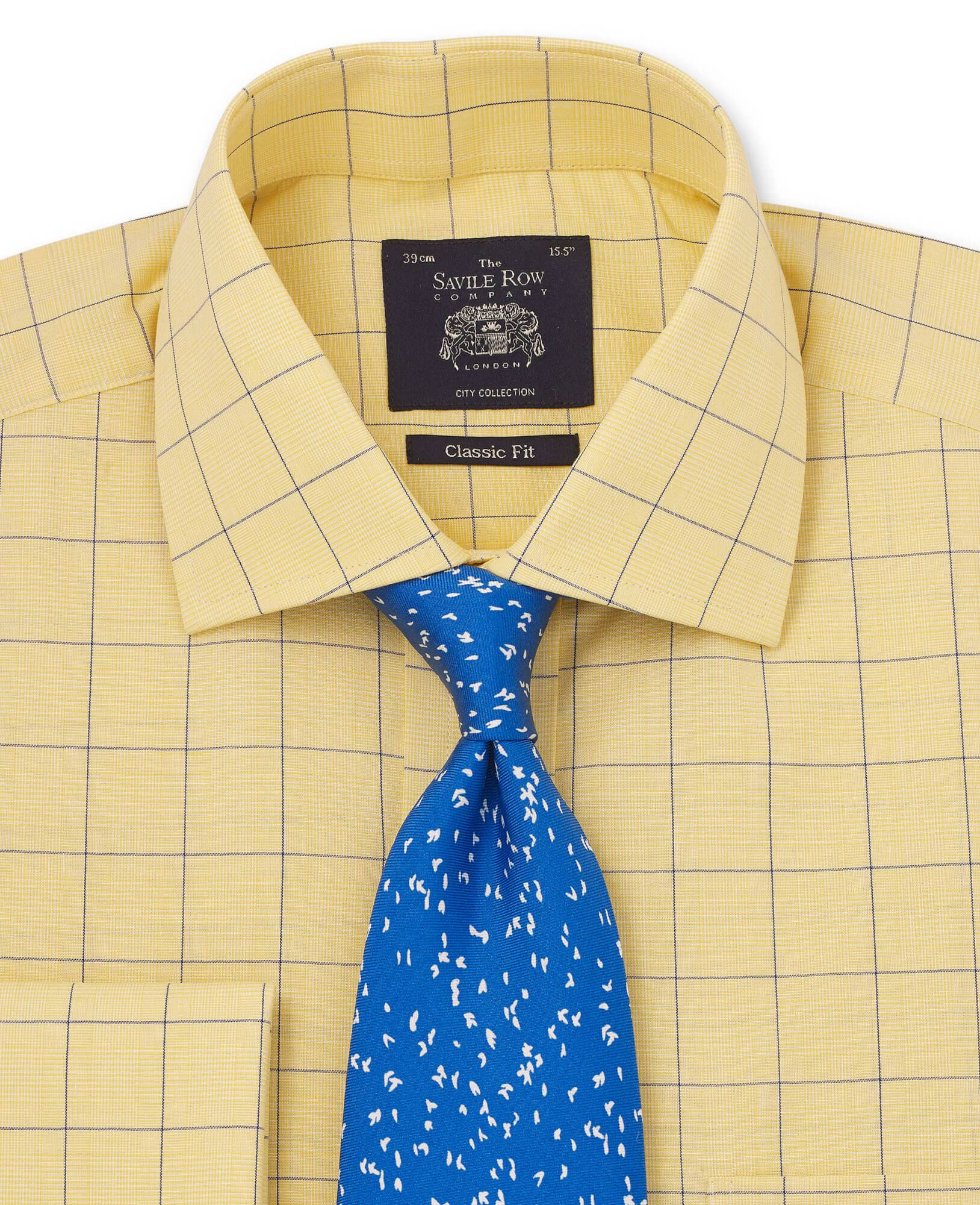 Yellow & Blue Prince Of Wales Classic Fit Shirt with Double Cuff-1043YEN
